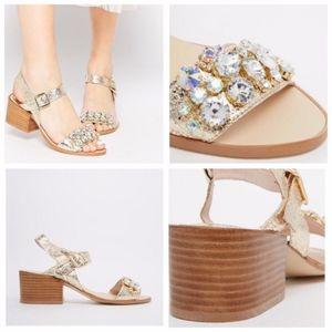 Faith Dassett Gold Leather Embellished Sandals